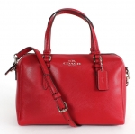 COACH BENNEETT LEATHER MINI SATCHEL CROSSBODY # 50430 สี SILVER/RED สำเนา