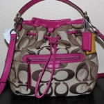 Coach Daisy Outline Signature Drawstring Handbag Bag # 25675 สี Pink/Magenta