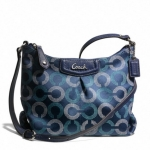 COACH ASHLEY DOTTED OP ART SWINGPACK # 48048 สี silver navy deep ink