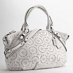 กระเป๋า coach madison laser cut op art leather lg sophia satchel #17003  PARCHMENT
