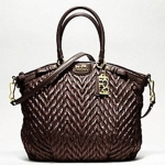 COACH New madison quilted chevron nylon large lindsey # 18634 Brown