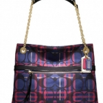 COACH Poppy Tartan Signature Slim Tote # 21136 สี Navy-Multi