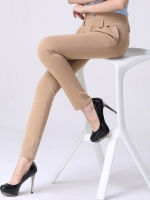 กางเกงทำงานผู้หญิงขายาวเอวสูง สีน้ำตาลอ่อน ผ้าใส่สบาย