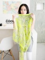 ผ้าพันคอลายวินเทจ Vintage : ผ้าพันคอ Viscose - size 170x70 cm สีเขียวเหลือง
