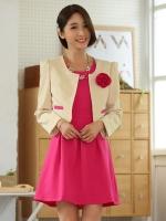 ชุดเซ็ทไซส์ใหญ่ 2 ชิ้น เสื้อคลุม+เดรส (เสื้อสีแดง/เสื้อสีเบจ) [XL,2XL,3XL]