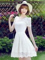 ชุดเดรสผ้าลูกไม้สีขาว ผ้านิ่ม ใส่สบาย น่ารักๆ