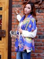ผ้าพันคอแฟชั่นลายเก๋ Chic Chic : ลาย Indian decor สีน้ำเงิน : ผ้าพันคอ Silk Chiffon - size 170*70 cm