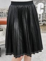 กระโปรงพลีทสีดำ เอวยางยืด (XL,2XL,3XL,4XL,5XL)