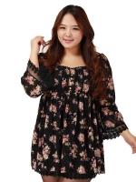 ชุดเดรสผ้าลูกไม้ชีฟอง สีดำ (XL,2XL,3XL)