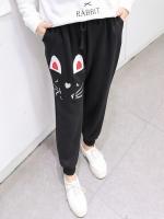 กางเกงผ้ากำมะหยี่สีดำขายาวพิมพ์ลายการ์ตูนไซส์ใหญ่ (XL,2XL,3XL,4XL)