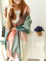 ผ้าพันคอ ผ้าคลุมพัชมีนา Pashmina scarf ลายตาราง size 200x60 cm - สี Light Pink