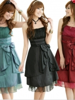 ชุดราตรีผ้าซาติน สีดำ/สีไวน์แดง/สีเขียว (XL,2XL,3XL)
