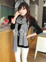 ผ้าพันคอไหมพรม ผ้า cashmere scarf size 220*30 cm -  สี light gray
