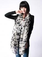 ผ้าพันคอลายช้าง Elephant Scarf : สี White ผ้า viscose size 180x80 cm