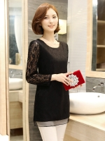 เสื้อผ้าลูกไม้ไซส์ใหญ่ คอกลม แขนยาว สีเทาเข้ม/สีดำ/สีชมพู (XL,2XL,3XL,4XL,5XL)
