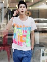 สื้อยืดพิมพ์ลายสายรุ้งแฟชั่นเสื้อผ้าผู้ชายจากเกาหลีมี3สี