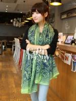 ผ้าพันคอลายลูกน้ำ Paisley Pattern : สีครามเขียว - ผ้าพันคอ Cotton - 180x80 cm