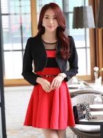 เสื้อคาร์ดิแกน แขนยาว รวมเข็มกลัด สีดำ/สีแดง (XL,2XL,3XL)