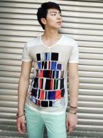 เสื้อยืดพิมพ์ลายกราฟิกแฟชั่นเสื้อผ้าผู้ชายจากเกาหลีมี3สี