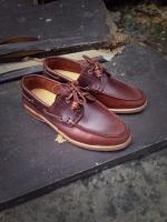 รองเท้าผู้ชาย | รองเท้าแฟชั่นชาย Red Brown Boat Shoes หนัง Oiled Pull Up