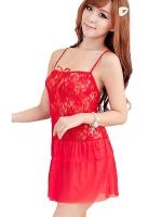 ชุดนอนเซ็กซี่ซีทรูสีแดง ตัวชุดเนื้อผ้าซีทรูสีออกไวน์สีแดง