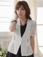 เสื้อคลุมเข้ารูปติดกระดุม คอวี แขนสั้น แต่งผ้าแถบลูกไม้ช่วงแขนและชายเสื้อ สีเหลือง/สีขาว ไซส์ (XL,2XL,3XL)
