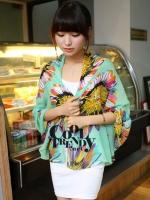 ผ้าพันคอลายดอกไม้ Colorful flower สี Mint ผ้าพันคอ Silk Chiffon - size 160 x 60 cm