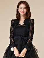 เสื้อคลุมไหล่ลูกไม้แขนยาว สีดำ/สีขาว สวมคู่ชุดเจ้าสาว/เพื่อนเจ้าสาว/ชุดราตรีเพื่อเพิ่มความหรูหรา (XL,2XL,3XL)
