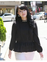 เสื้อชีฟอง แต่งช่วงเอวด้วยผ้าลูกไม้เกาหลี สีดำ (L,XL)