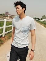 เสื้อยืดสไตล์วินเทจแฟชั่นผู้ชายนำเข้าจากเกาหลีมี2สี