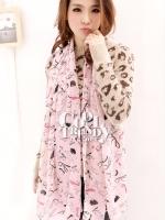 ผ้าพันคอแฟชั่นลายลิปสติค Lipstick : ชมพู - ผ้าพันคอ Silk Chiffon - size 170*70 cm