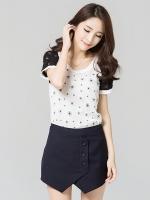 เสื้อชีฟองผสมผ้าลูกไม้สีขาวไซส์ใหญ่ คอกลม แขนสั้น (XL,2XL,3XL,4XL,5XL)