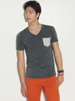 เสื้อยืดคอกลมลายกระเป๋าแฟชั่นผู้ชายเกาหลีมี5สี