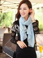 ผ้าพันคอแฟชั่น Candy Color - ผ้าชีฟอง 150x45 cm - สีฟ้า
