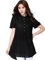 เสื้อลำลองผ้าชีฟองแต่งช่วงอกสวย สีดำ/สีขาว/สีชมพู (XL,2XL,3XL,4XL,5XL)