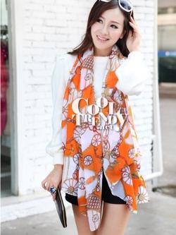 ผ้าพันคอแฟชั่นลายโซ่ Chiffon Coach : สีส้ม : ผ้าพันคอ Silk Chiffon - size 170*70 cm