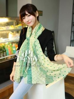 ผ้าพันคอลายจุด ขอบระบายลูกไม้ สีเขียว ผ้าพันคอ viscose - size 180x80 cm