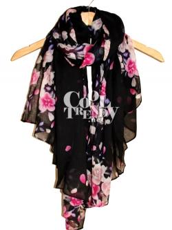 ผ้าพันคอลายดอกซากุระ Sakura : Black color ผ้า Viscose size 180x100 cm