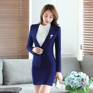 เสื้อสูทผู้หญิงแขนยาวไม่มีปกแฟชั่น สีน้ำเงินเข้ม