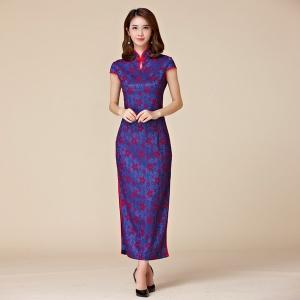 ชุดกี่เพ้ายาว แฟชั่นลูกไม้ แขนในตัว สีม่วงพิมพ์ลายดอก (XL,2XL,3XL)