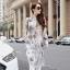 เสื้อทีเชิ้ตตัวยาวสีขาวพิมพ์ลายแขนยาวไซส์ใหญ่สไตล์เกาหลี (XL,2XL,3XL,4XL,5XL)
