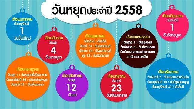 วันหยุดไปรษณีย์ไทย ประจำปี 2558