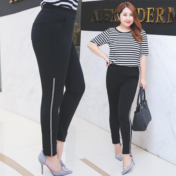 ++พร้อมส่ง++ กางเกงผ้ายืดสีดำ ขายาว ปลายขาติดเพชรสวยเก๋ (2XL,3XL)
