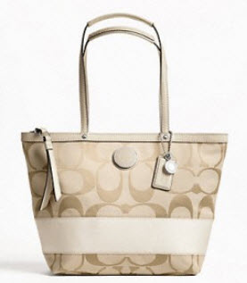 COACH SIGNATURE STRIPE TOTE STYLE # 19046 สี Light khaki/ white