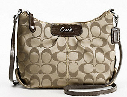COACH SIGNATURE SATEEN KHAKI WHITE ASHLEY SWINGPACK # 46873 สี KHAKI / MAHOGGANI