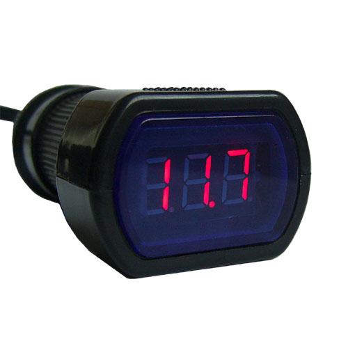 โวลท์มิเตอร์วัดไฟแบตรถยนต์ดิจิตอล LED 12V 24V เสียบที่จุดบุหรี่