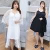 ชุดนอนเซ็ท 2 ชิ้น ชุดนอนกระโปรงผ้าไหม+เสื้อคลุมผ้าลูกไม้ สีดำ/สีขาว (XL,2XL,3XL) Ai-2880
