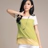 เสื้อชีฟองแฟชั่นสไตล์เกาหลีทรงหลวมแขนสั้น ไซส์ XL 2XL 3XL 4XL 5XL