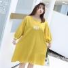 ♥พร้อมส่ง♥ เดรสยืดสีเหลืองแขนยาว พิมพ์อักษรช่วงอก ชายกระโปรงหางปลา (XL อก 56)