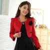 เสื้อคลุมcropped สีแดง/สีเบจ แขนยาว (XL,2XL,3XL) JK-9939